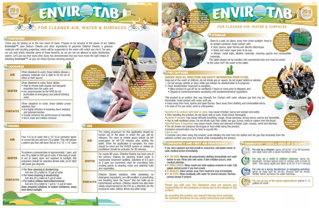 Envirotab for Cleaning, 20g Tablets x 25 Pieces