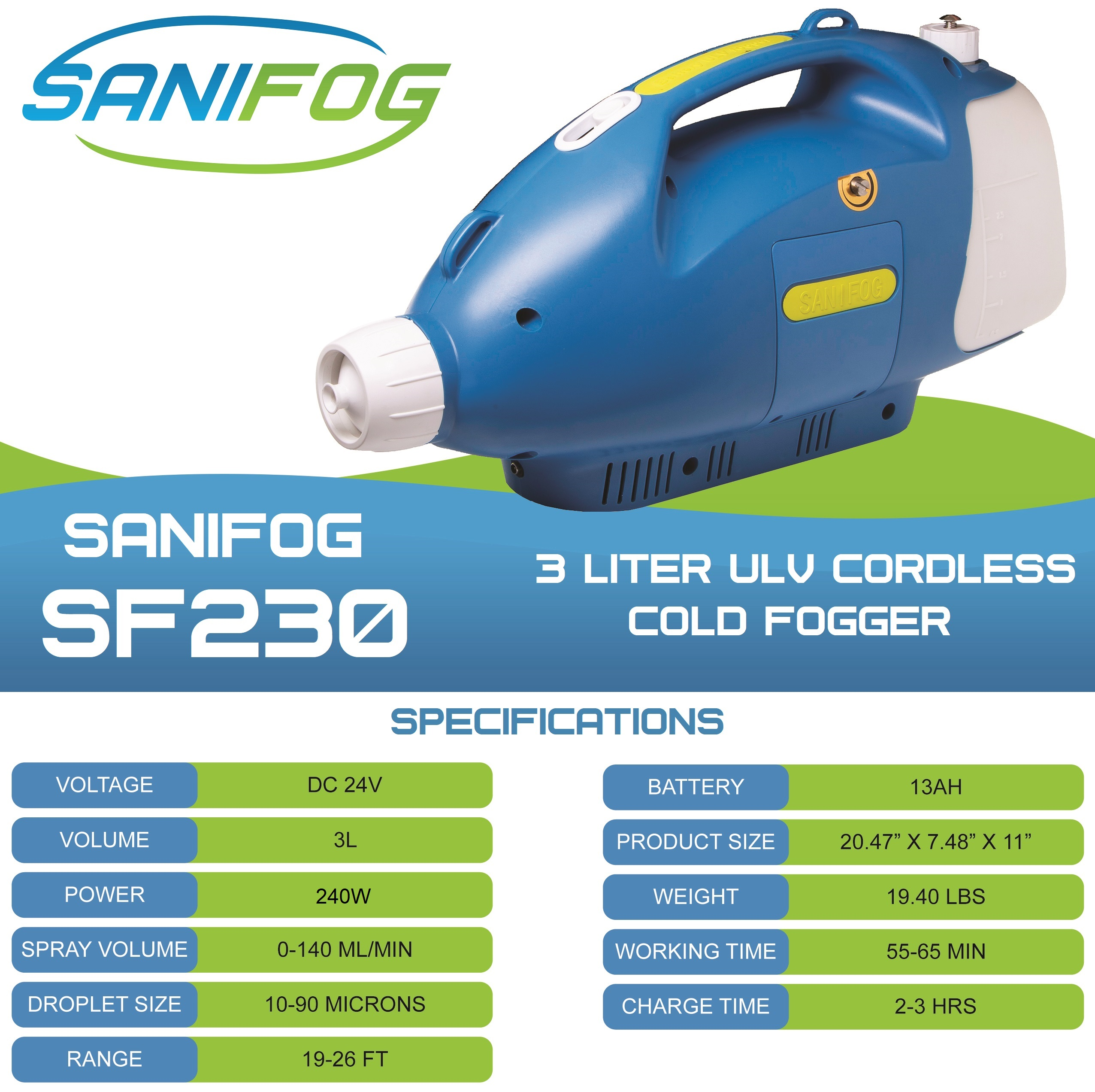 3.0 L CORDLESS ULV COLD FOGGER BATTERY SANIFOG DISINFECTANT SPRAYER  WITH STARTER TABLETS (COMMERCIAL OR RESIDENTIAL)